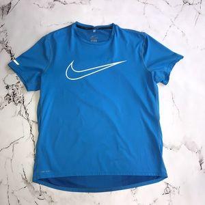 Nike Run Dri-Fit T-Shirt Blue and White Swoosh Size Large